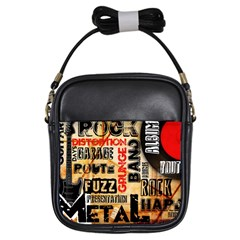 Guitar Typography Girls Sling Bags by Sapixe