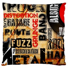 Guitar Typography Large Cushion Case (one Side)