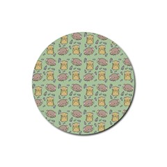 Hamster Pattern Rubber Round Coaster (4 Pack)