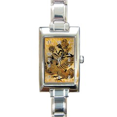 Golden Colorful The Beautiful Of Art Indonesian Batik Pattern Rectangle Italian Charm Watch
