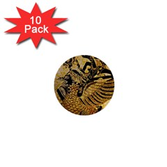 Golden Colorful The Beautiful Of Art Indonesian Batik Pattern 1  Mini Buttons (10 Pack)
