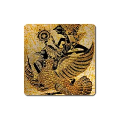 Golden Colorful The Beautiful Of Art Indonesian Batik Pattern Square Magnet by Sapixe