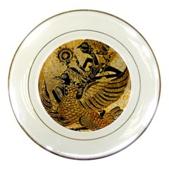 Golden Colorful The Beautiful Of Art Indonesian Batik Pattern Porcelain Plates by Sapixe