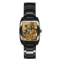 Golden Colorful The Beautiful Of Art Indonesian Batik Pattern Stainless Steel Barrel Watch by Sapixe