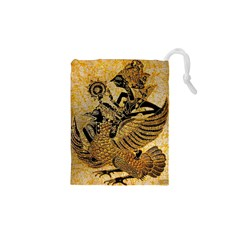 Golden Colorful The Beautiful Of Art Indonesian Batik Pattern Drawstring Pouches (xs)  by Sapixe