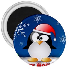 Happy Holidays Christmas Card With Penguin 3  Magnets by Sapixe