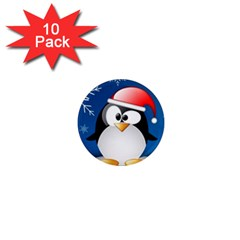 Happy Holidays Christmas Card With Penguin 1  Mini Magnet (10 Pack)