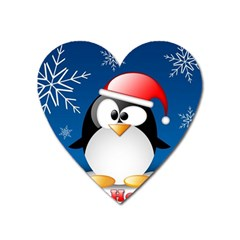 Happy Holidays Christmas Card With Penguin Heart Magnet by Sapixe