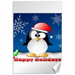 Happy Holidays Christmas Card With Penguin Canvas 24  X 36  by Sapixe