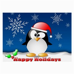 Happy Holidays Christmas Card With Penguin Large Glasses Cloth by Sapixe