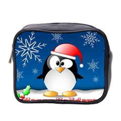 Happy Holidays Christmas Card With Penguin Mini Toiletries Bag 2 Side by Sapixe
