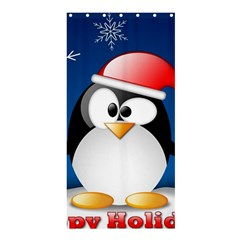 Happy Holidays Christmas Card With Penguin Shower Curtain 36  X 72  (stall)