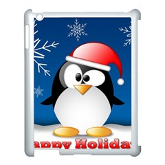 Happy Holidays Christmas Card With Penguin Apple Ipad 3/4 Case (white) by Sapixe