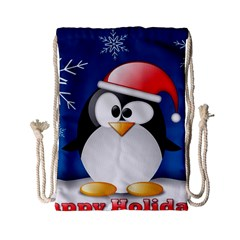 Happy Holidays Christmas Card With Penguin Drawstring Bag (small) by Sapixe