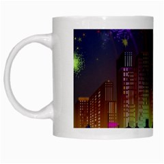 Happy Birthday Independence Day Celebration In New York City Night Fireworks Us White Mugs
