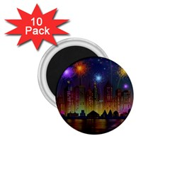 Happy Birthday Independence Day Celebration In New York City Night Fireworks Us 1 75  Magnets (10 Pack)