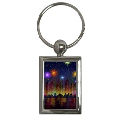 Happy Birthday Independence Day Celebration In New York City Night Fireworks Us Key Chains (rectangle)  by Sapixe