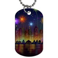 Happy Birthday Independence Day Celebration In New York City Night Fireworks Us Dog Tag (two Sides)