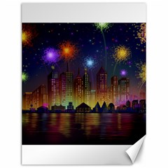 Happy Birthday Independence Day Celebration In New York City Night Fireworks Us Canvas 12  X 16   by Sapixe