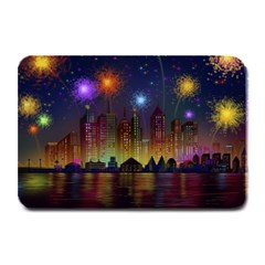 Happy Birthday Independence Day Celebration In New York City Night Fireworks Us Plate Mats by Sapixe