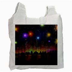 Happy Birthday Independence Day Celebration In New York City Night Fireworks Us Recycle Bag (two Side)