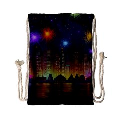 Happy Birthday Independence Day Celebration In New York City Night Fireworks Us Drawstring Bag (small)