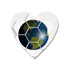 Hexagon Diamond Earth Globe Heart Magnet by Sapixe