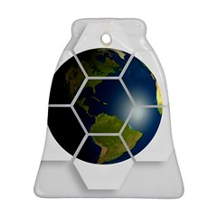 Hexagon Diamond Earth Globe Bell Ornament (two Sides) by Sapixe