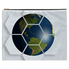 Hexagon Diamond Earth Globe Cosmetic Bag (xxxl)