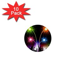 Happy New Year 2017 Celebration Animated 3d 1  Mini Buttons (10 Pack)