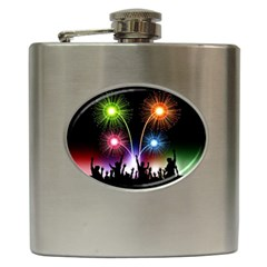 Happy New Year 2017 Celebration Animated 3d Hip Flask (6 Oz) by Sapixe