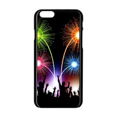 Happy New Year 2017 Celebration Animated 3d Apple Iphone 6/6s Black Enamel Case