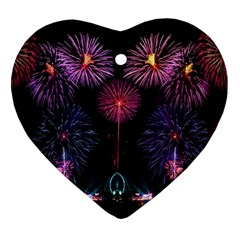 Happy New Year New Years Eve Fireworks In Australia Ornament (heart) by Sapixe
