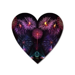 Happy New Year New Years Eve Fireworks In Australia Heart Magnet by Sapixe