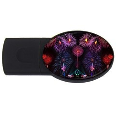 Happy New Year New Years Eve Fireworks In Australia Usb Flash Drive Oval (4 Gb)