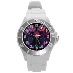 Happy New Year New Years Eve Fireworks In Australia Round Plastic Sport Watch (l) by Sapixe