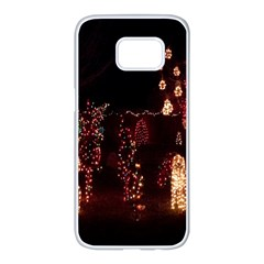 Holiday Lights Christmas Yard Decorations Samsung Galaxy S7 Edge White Seamless Case by Sapixe