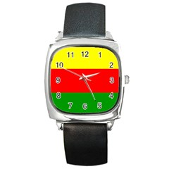 Kurdistan Kurd Kurds Kurdish Flag Square Metal Watch by Sapixe
