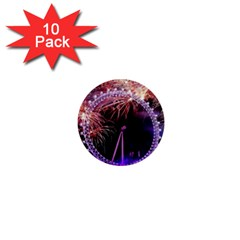 Happy New Year Clock Time Fireworks Pictures 1  Mini Buttons (10 Pack)
