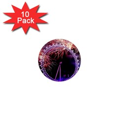 Happy New Year Clock Time Fireworks Pictures 1  Mini Magnet (10 Pack)