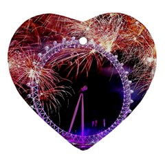 Happy New Year Clock Time Fireworks Pictures Heart Ornament (two Sides) by Sapixe