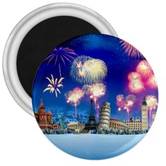 Happy New Year Celebration Of The New Year Landmarks Of The Most Famous Cities Around The World Fire 3  Magnets by Sapixe