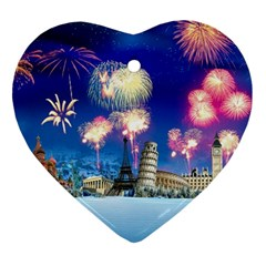 Happy New Year Celebration Of The New Year Landmarks Of The Most Famous Cities Around The World Fire Ornament (heart) by Sapixe