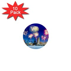 Happy New Year Celebration Of The New Year Landmarks Of The Most Famous Cities Around The World Fire 1  Mini Buttons (10 Pack)