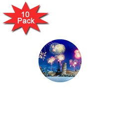 Happy New Year Celebration Of The New Year Landmarks Of The Most Famous Cities Around The World Fire 1  Mini Magnet (10 Pack)