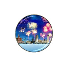 Happy New Year Celebration Of The New Year Landmarks Of The Most Famous Cities Around The World Fire Hat Clip Ball Marker (4 Pack)