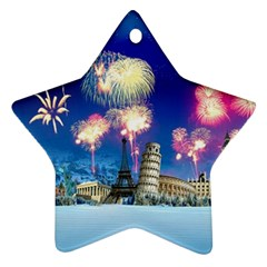 Happy New Year Celebration Of The New Year Landmarks Of The Most Famous Cities Around The World Fire Star Ornament (two Sides)