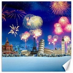 Happy New Year Celebration Of The New Year Landmarks Of The Most Famous Cities Around The World Fire Canvas 12  X 12   by Sapixe