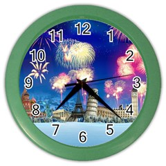 Happy New Year Celebration Of The New Year Landmarks Of The Most Famous Cities Around The World Fire Color Wall Clocks by Sapixe