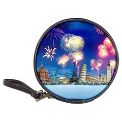 Happy New Year Celebration Of The New Year Landmarks Of The Most Famous Cities Around The World Fire Classic 20 Cd Wallets by Sapixe